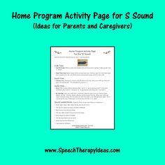 Home Program Activity Page for S Sound - Ideas for Parents and Caregivers
