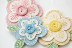Pale and Sweet Pastel Blossoms Hair Clip Set... CUTE!