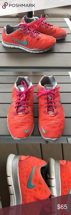 Women's Nike Free 5.0 Bright Neon Shoes In good condition! Worn mainly in the gym and for walks around the neighborhood, so there isn't any heavy damage. Still in great shape! Nike Shoes Sneakers