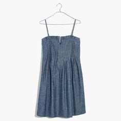 denim pintuck cami dress
