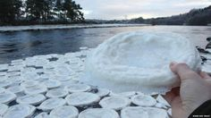 """""""'Ice pancakes' found floating on the River Dee"""" in Scotland -- Click through for more photos and probable explanations for these very cool (no pun intended) natural phenomena."""