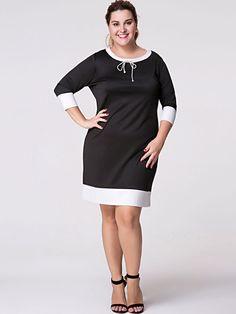 Round Neck  Bowknot  Color Block Plus Size Bodycon Dresses