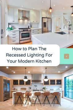 Recessed lighting can make your kitchen look better, brighter and more inviting, all while providing a reliable source of light for cooking! Find out how to plan your kitchen recessed lighting here. Bathroom Recessed Lighting, Installing Recessed Lighting, Kitchen Lighting Fixtures, Dining Room Lighting, Kitchen Renovation Cost, Kitchen Remodel Cost, Kitchen Layout, Kitchen Decor, Kitchen Ideas
