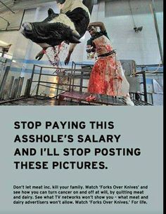 So horrible and senseless that animals have to endure this kind of pain and suffering, just so people can eat them and make themselves sick. WAKE UP.