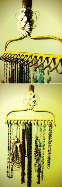 Create a holder for all your jewelry out of your mom's garden hoe! All of your cork, jewelry, and other boards can be safely hung on your wall with command strip hooks (available to purchase at most grocery and drug stores). Avoid holes in your walls from tacks and nails!