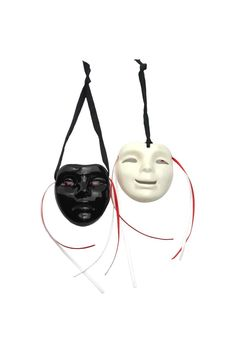 "Ready to hang. Masks are made from ceramic handmade by local New Orleans artists.  Measures: 3.25"" x 3"" x 1"" each  Comedy & Tragedy Mini Masks by Fancy Faces. Home & Gifts - Home Decor - Decorative Objects Alabama"