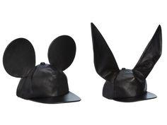 pleasebboy:  COMME DES GARÇONS Mouse Ears Leather Baseball Cap...