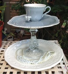 Gray and Off White Teacup and Snack Plate Pedestal Soap and Potpourri Stand Jewelry Stand Decorative China Totem