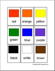 Color sheets for preschool and elementary children free printable . Learn the colors . Preschool Colors, Free Preschool, Preschool Printables, Abc Activities, Toddler Learning Activities, Color Activities, Flashcards For Toddlers, Color Flashcards, English Lessons For Kids