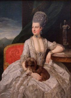 Archduchess Maria Christine looks comfortable in her formidable decollete-cut evening dress in this 1776 Zoffany portrait.