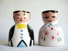 Vintage Pair Bride and Groom Ceramic Egg Cups.