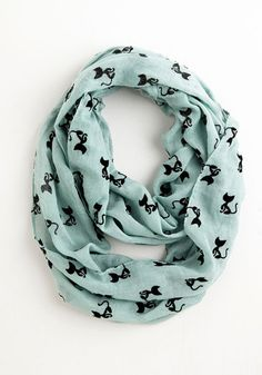 Cat Person Circle Scarf in Mint - Mint, Black, Print with Animals, Cats, Good, Woven, Casual, Pastel