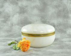 Large White Alabaster Jar by TreasuryShop on Etsy