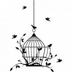 014c5e999b93 Stickers cage oiseaux - Des prix 50% moins cher qu en magasin Tatouage  Oiseau