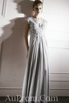 Chiffon Cap Sleeves Long Gray Girls Prom Dress Attire Online,Chiffon Cap Sleeves Long Gray Girls Prom Dress Attire Online - Buy best cheap formal prom dress from AuProm.com