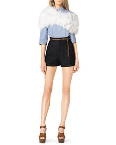 Striped Wide-Sleeve Blouse, Pleated Denim Shorts by Michael Kors at Bergdorf Goodman.