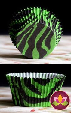 Zebra Print Baking Cups - Lime