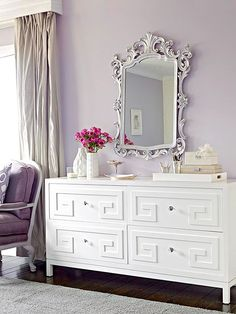 Dazzling Dresser - dress up a dull dresser with simple install overlays which come in a variety of shapes and designs.  Look for ones that can be painted so you can customize your look.