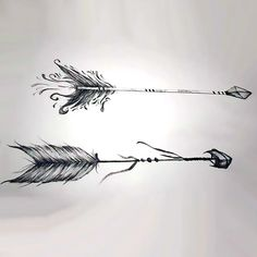 A creative arrow tattoo design. Two beautiful arrows with a lot of stripes. Style: Sketch. Color: Gray