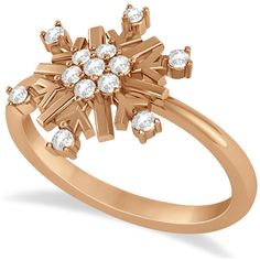 Allurez Large Diamond Snowflake Shaped Fashion Ring 14k Rose Gold... ($690) ❤ liked on Polyvore featuring jewelry, rings, rose gold, snowflake diamond ring, 14k rose gold ring, red gold ring, pink gold rings and carved rings