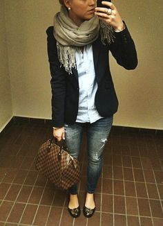 I like the look for going out on a Friday or weekend night -- blazer, scarf, jeans, and flats.