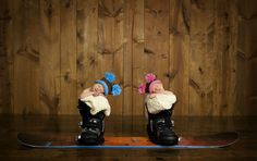 Chase and Kara in their daddy's snowboard boots! Picture courtesy of Jessica Lake Photography