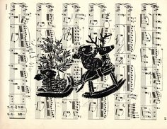 """""""Tally Ho!"""" hand-printed lino-cut on vintage music sheet. A beautiful lino-cut of two mice with a rocking horse and Christmas tree, hand-printed onto a vintage music sheet. Signed and ready for matting and framing. 9 x 12"""" in size. The perfect Christmas gift!."""