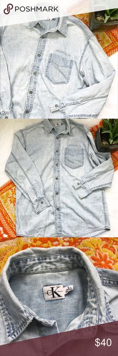 Vintage Calvin Klein denim Button Down Vintage Calvin Klein Button Down denim shirt from the 90s! In good vintage condition, does have some small flaws but they're barely noticeable and all shown in photos! Would be cute to wear Open over a crop top or tie around your waist! Length-29, bust-20 pit to pit *** no modeling or trades!! ::045 Calvin Klein Jeans Tops Button Down Shirts