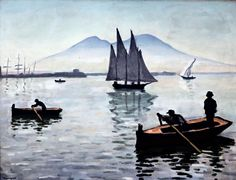 Albert Marquet - The Bay of Naples, 1909 Raoul Dufy, Henri Matisse, Modern Artists, French Artists, Rio Sena, Georges Braque, Virtual Art, Boat Painting, Art Van