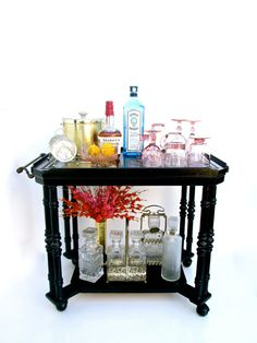 Vtg Bar Cart  Stunning Black & Gold Two-Tier by ElectricMarigold