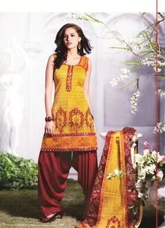Yellow Cotton Short Punjabi Salwar Kameez 15548