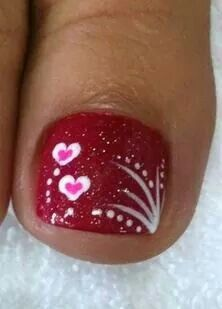 Vday Nails by passionfornails - Nail Art Gallery nailartgallery. by Nails M. Fancy Nails, Love Nails, Pretty Nails, My Nails, Pretty Toes, Pedicure Designs, Toe Nail Designs, Nails Design, Pedicure Ideas