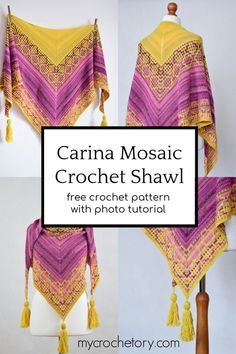 # Need a fun crochet project? Learn how to make a mosaic crochet shawl with my free crochet pattern for Carina Mosaic Crochet Shawl. Pattern included heavy step-by-step tutorial demonstrating how to do mosaic crochet. Beau Crochet, Crochet Shawl Free, Crochet Shawls And Wraps, Crochet Scarves, Crochet Clothes, Knit Crochet, Crochet Baby, Triangle En Crochet, Mosaic Knitting