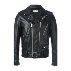 SAINT LAURENT Leather Biker Jacket (14,215 SAR) ❤ liked on Polyvore featuring men's fashion, men's clothing, men's outerwear, men's jackets, black, mens leather motorcycle jacket, mens leather moto jacket, mens leather jackets and mens leather biker jacket