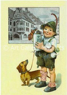 DACHSHUND HOFFBRAU BEER - German Boy - Vintage Postcard -- ahh I've been to that HB Haus in Munich =)