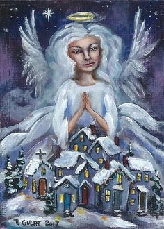 ACEO WONDERS2017 Original Acrylic Miniature Painting Christmas Angel Town Gulat #FolkArt