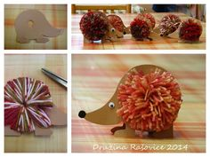 Hedgehog made of cardboard and pompom 0 Diy Crafts For Kids, Projects For Kids, Art For Kids, Arts And Crafts, Children Crafts, Pom Pon, Pom Pom Crafts, Kindergarten Crafts, Textiles