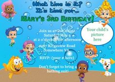 www.craftywife.com | Bubble Guppies birthday card option two