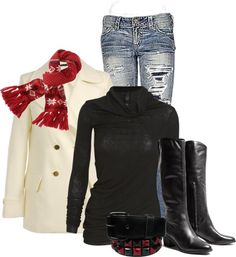 A fashion look from November 2012 featuring turtleneck sweater, wool coat and blue jeans. Browse and shop related looks. Fashion Days, Fashion Looks, Fashion Outfits, Fashion Trends, Girly Outfits, Cute Outfits, Aeropostale Outfits, Types Of Fashion Styles, Her Style