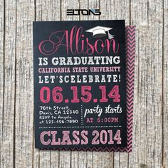 Chalkboard DoubleSided Graduation Invitation / by EltonsLogo, $15.00