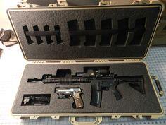 Custom Foam for a Pelican case Hidden Gun Storage, Ammo Storage, Weapon Storage, Pelican Case, Tactical Rifles, Firearms, Gun Cases, Custom Guns, Ideas