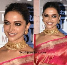 Jewelry Set Deepika Padukone in Gold Choker and Studs photo Indian Wedding Jewelry, Indian Jewelry, Bridal Jewelry, Indian Jewellery Design, Jewelry Design, Tanishq Jewellery, Gold Choker Necklace, Gold Necklaces, Delicate Necklaces