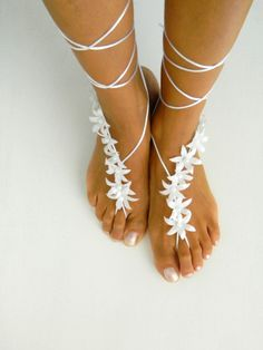White autumn flowers Beach wedding barefoot sandals.