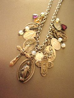 Vintage Religious Medal Necklace by JeepersKeepers on Etsy