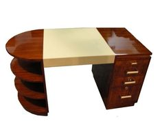 New Art Deco desk made of rare tropical wood for boutique hotels.