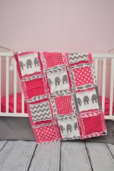Elephant Crib Bedding, Hot Pink & Gray Elephant Nursery - Crib Bedding - A Vision to Remember