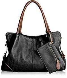 AB Earth PU Leather Women Tote Top Handle Shoulder Handbags Crossbody Bag, M898 (Black)