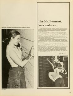 Spectrum Green Yearbook, 1976. Students talk on the phone and check their mailboxes. :: Ohio University Archives