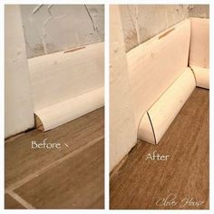 Professional Baseboards On A Budget As promised, I'm back with more of our Entry Hall Makeover. Today I'm going to attempt to tell/show you how to get your very own perfect baseboards with… Home Improvement Loans, Home Improvement Projects, Home Projects, Home Renovation, Home Remodeling, Basement Renovations, Wood Look Tile Floor, Trim Carpentry, Baseboard Trim