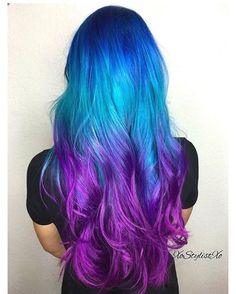 Amazing Bright Hair Dye Colors Photos Of Hair Color Ideas . Amazing Bright Hair Dye Colors Photos Of hair color ideas colorful - Hair Color Ideas Blue Ombre Hair, Ombre Hair Color, Teal And Purple Hair, Peacock Hair Color, Galaxy Hair Color, Unicorn Hair Color, Blonde Ombre, Blonde Color, Bright Hair Colors